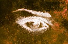 Eye drawing, pencil sketch on paper, sepia and vintage effect Stock Illustration