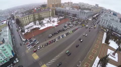 Flying over Red Square in Kursk, Russia - stock footage