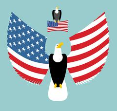 American Eagle. Most powerful Bird and US Flag. Emblem for America. Winged pr - stock illustration