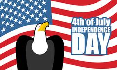 Independence Day of America. Eagle and USA flag. National holiday 4th of July Stock Illustration