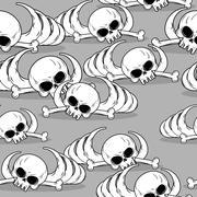Remains of skeleton seamless pattern. Skull and bones ornament. Deadly backgr - stock illustration