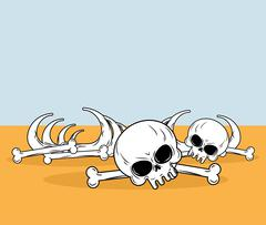 Skeleton in desert. Skull and bones lying on yellow sand. Dead desert landsca - stock illustration