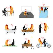 Love for hot dog set. Man and fast food in cinema. Lovers in bath. Romantic d Stock Illustration