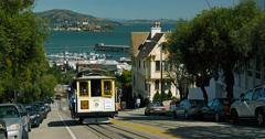 Cable Car at  San Francisco overlooking Alcatraz prison Stock Footage