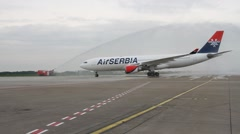 Wecome for new airplane at Belgrade airport Stock Footage