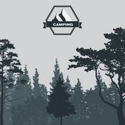 Image of Nature. Tree Silhouette. Vector Illustration Stock Illustration