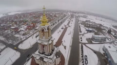 Aerial view of Saint George Church in Kursk, Russia Stock Footage