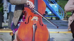 Music professional cello player solo performance Stock Footage