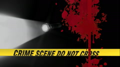 Crime scene tape with flashlight and blood splatter Stock Footage
