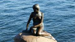 The Famous Little Mermaid Statue in Copenhagen Denmark - stock footage