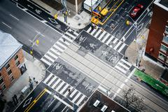Aerial view of the intersection of Simcoe Street and Adelaide Street, in down Stock Photos