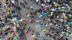 People crowd on city concert, aerial view Stock Footage