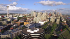 Aerial of Downtown Seattle City Buildings on Sunny Day in Pacific Northwest Stock Footage