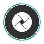 Wave circle computer symbol - stock illustration