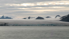 Coast of Svalbard. Glacier. View from the ship. Summertime - stock footage