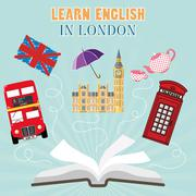 Abroad Language School flat design Stock Illustration