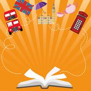 Language poster, banner, Open book with characters England Stock Illustration