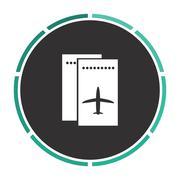 ticket plane computer symbol - stock illustration