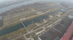 Electric facilities on power plant area, aerial view - stock footage