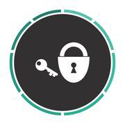 Padlock and key computer symbol Stock Illustration