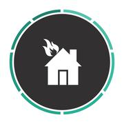 house fire computer symbol - stock illustration