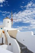 Windwill of Oia Santorini, Greece, copyspace Stock Photos