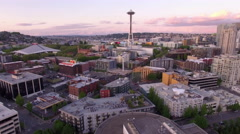 Seattle  Aerial Fly Over Downtown City Buildings to Space Needle Stock Footage
