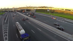 Aerial shot of city traffic interchange Stock Footage
