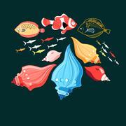 Illustration of a fish and shells - stock illustration