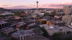 Seattle  Aerial Reveal from Downtown City Buildings to Space Needle Stock Footage