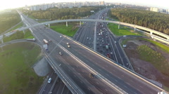 Traffic on multilevel crossing, aerial view Stock Footage