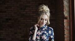 Beauty portrait, beautiful caucasian blonde woman smiling at camera. - stock footage