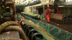 Trawl, which is lowered into the sea Stock Footage