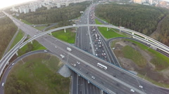 Central highway and overpasses, aerial view Stock Footage