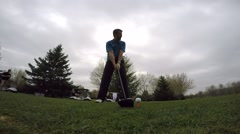Golf ball drive off tee Stock Footage