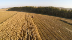 Aerial view of agricultural vehicles gathering crops Stock Footage