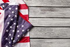 Creased national flag of USA. Stock Photos