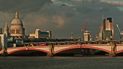City of London sunset with clouds, orange sunset Stock Footage