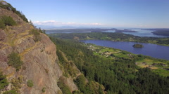 Sunny Day Aerial of Lake Campbell and Puget Sound from Mt Erie in Pacific Nort Stock Footage