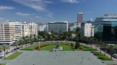 Aerial View of Izmir Republic Square and Monument Turkey Stock Footage