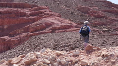 Hiking in the desert. The girl with the backpack Stock Footage