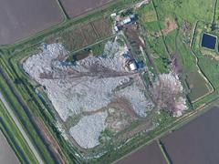 View landfill bird's-eye view. Landfill for waste storage. - stock photo