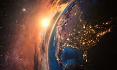 highly detailed planet earth in the evening, - stock illustration