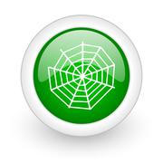 Green glossy circle spider modern web web modern icon Stock Illustration