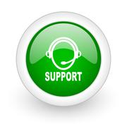 Green glossy circle support web modern icon Stock Illustration