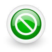 Green glossy circle access denied web modern icon Stock Illustration