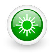 Green glossy circle sun web modern icon Stock Illustration