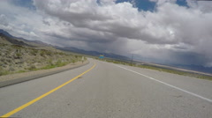 Mojave Desert Freeway Storm Sky Driving Time Lapse Stock Footage