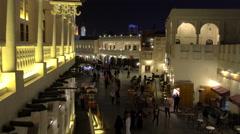 Overlooking Souq Waqif at dusk, Doha, Qatar Stock Footage