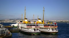 Berthed passenger ships in Istanbul Harbor, a major transport hub for intercity  Stock Footage